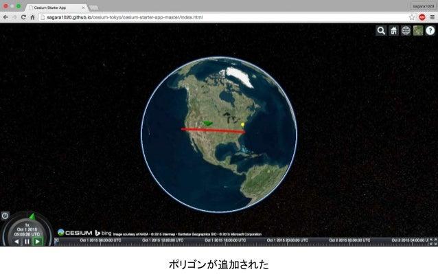ここに下のコードを貼り付ける viewer.camera.flyTo({ destination : Cesium.Cartesian3.fromDegrees(135.69, 34.69, 1000.0)}); Cesiumに動きをつけて、地...