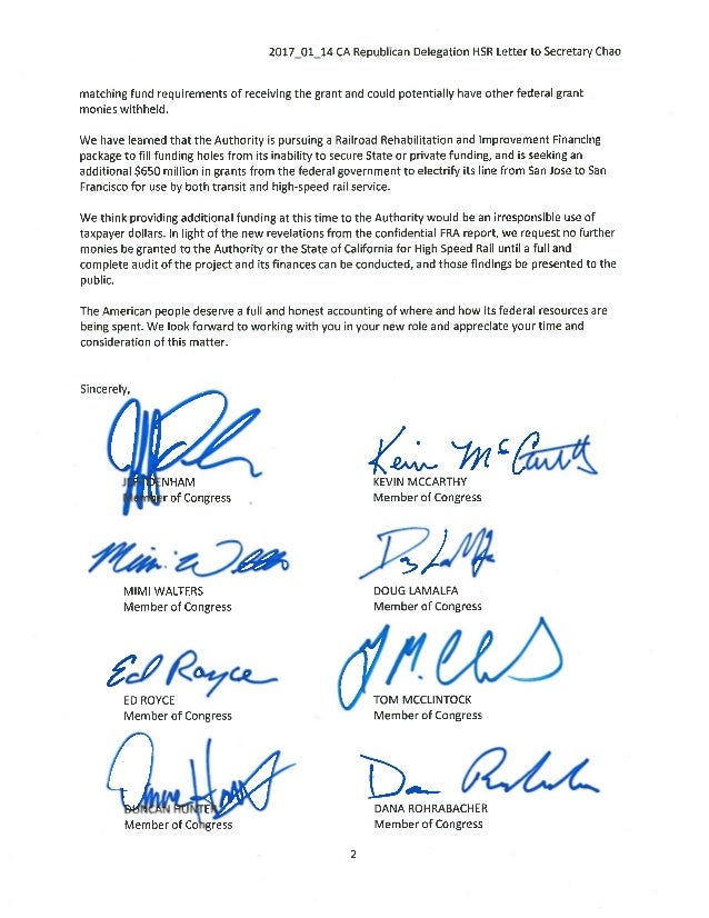 2017 01 24 CA rep delegation letter to secretary chao on high speed rail Slide 2