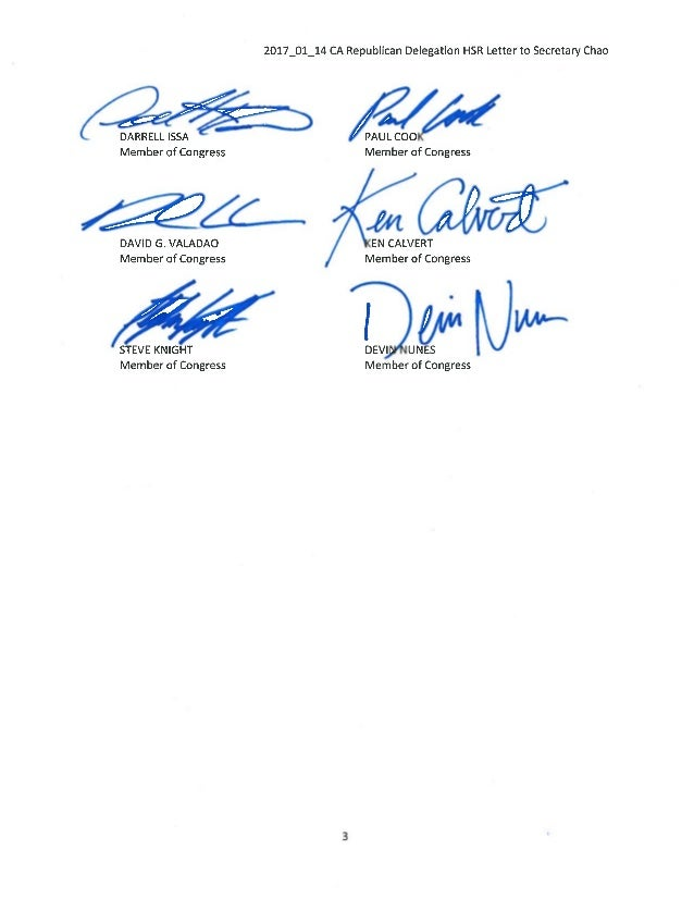 2017 01 24 CA rep delegation letter to secretary chao on high speed rail Slide 3