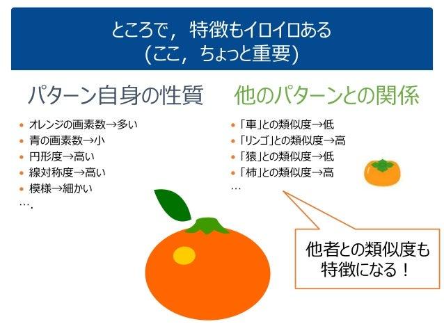 ところで,特徴もイロイロある (ここ,ちょっと重要) パターン自身の性質  オレンジの画素数→多い  青の画素数→小  円形度→高い  線対称度→高い  模様→細かい …. 他のパターンとの関係  「車」との類似度→低  「リンゴ...