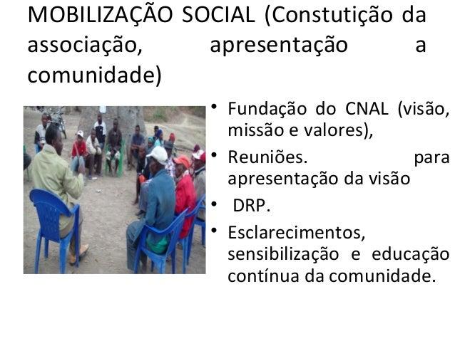 MOBILIZAÇÃO SOCIAL (Constutição da associação, apresentação a comunidade) • Fundação do CNAL (visão, missão e valores), • ...