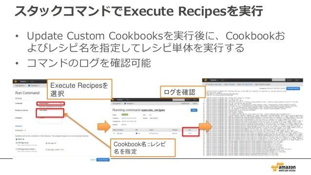 スタックコマンドでExecute Recipesを実行 • Update Custom Cookbooksを実行後に、Cookbookお よびレシピ名を指定してレシピ単体を実行する • コマンドのログを確認可能 Execute Recipesを...