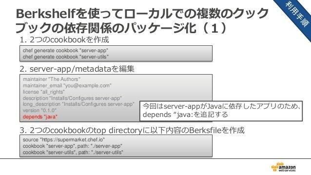 Berkshelfを使ってローカルでの複数のクック ブックの依存関係のパッケージ化(1) 1. 2つのcookbookを作成 2. server-app/metadataを編集 3. 2つのcookbookのtop directoryに以下内容...