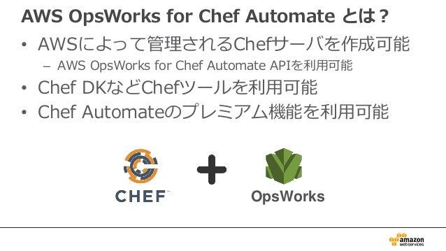 AWS OpsWorks for Chef Automateのメリット 53 完全マネージド型 Chefサーバ プログラム可能な インフラストラクチャ スケーリングが簡単に Chefコミュニティ サポート 安全 ハイブリッド環境を 簡単に管理