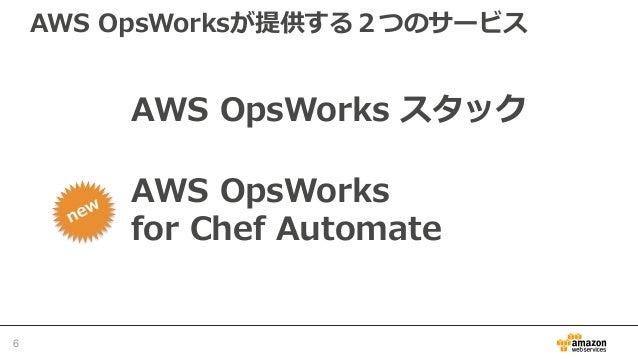 AWS OpsWorksが提供する2つのサービス 6 AWS OpsWorks スタック AWS OpsWorks for Chef Automate
