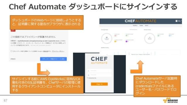 ノードの自動的な追加 • EC2ノードを自動的に追加可能 – EC2 Auto ScalingやCloudFormationも利用可能 • AWS OpsWorks for Chef Automate API(opsworks-cm) を許可す...
