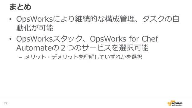 参考資料 • AWS OpsWorks ユーザーガイド http://docs.aws.amazon.com/ja_jp/opsworks/latest/userguide/welcome.html • AWS DevOps Blog Tag:...