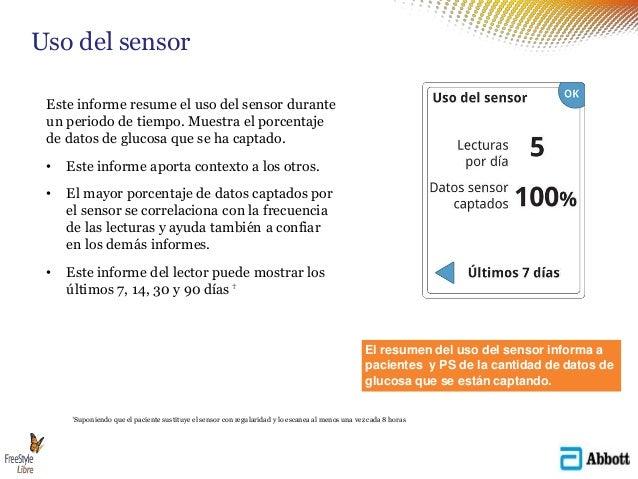 Este informe resume el uso del sensor durante un periodo de tiempo. Muestra el porcentaje de datos de glucosa que se ha ca...