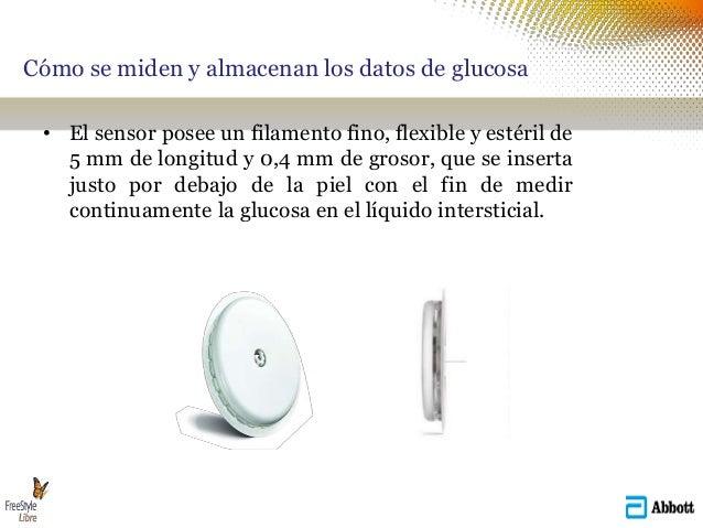 Cómo se miden y almacenan los datos de glucosa • El sensor posee un filamento fino, flexible y estéril de 5 mm de longitud...