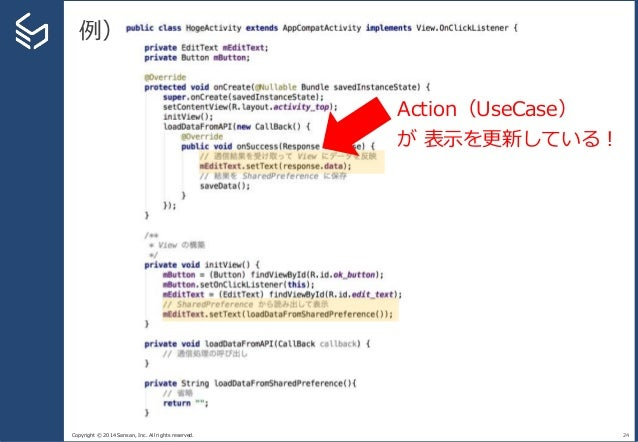 Copyright © 2014 Sansan, Inc. All rights reserved. 例) 24 Action(UseCase) が 表示を更新している!