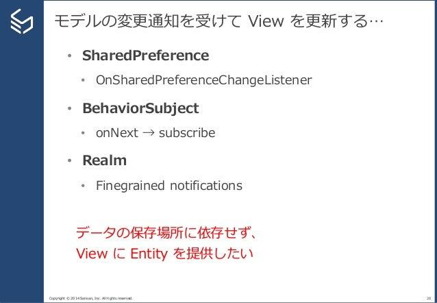 Copyright © 2014 Sansan, Inc. All rights reserved. モデルの変更通知を受けて View を更新する… 28 • SharedPreference • OnSharedPreferenceChan...