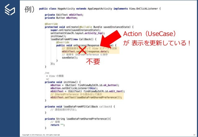 Copyright © 2014 Sansan, Inc. All rights reserved. 例) 34 Action(UseCase) が 表示を更新している! × 不要