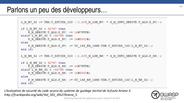Parlons un peu des développeurs… L'évaluation de sécurité du code source du système de guidage inertiel de la fusée Ariane...