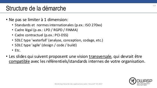 Structure de la démarche • Ne pas se limiter à 1 dimension: • Standards et normes internationales (p.ex.: ISO 270xx) • Cad...