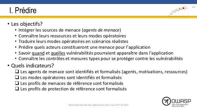 I. Prédire • Les objectifs? • Intégrer les sources de menace (agents de menace) • Connaître leurs ressources et leurs mode...