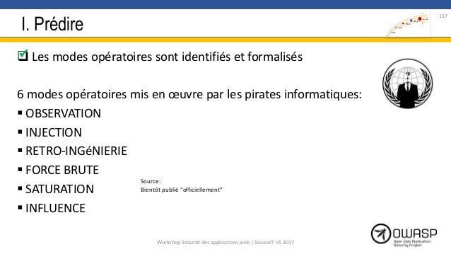 I. Prédire  Les modes opératoires sont identifiés et formalisés 6 modes opératoires mis en œuvre par les pirates informat...