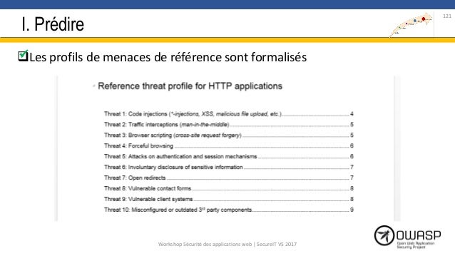 I. Prédire Les profils de menaces de référence sont formalisés 121 Workshop Sécurité des applications web | SecureIT VS ...