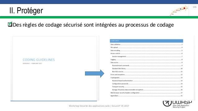 II. Protéger Des règles de codage sécurisé sont intégrées au processus de codage 126  Workshop Sécurité des applications...