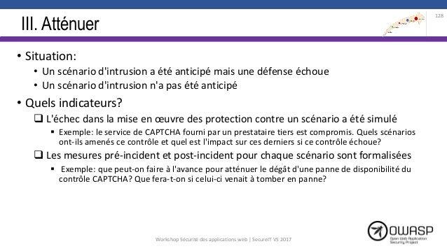III. Atténuer • Situation: • Un scénario d'intrusion a été anticipé mais une défense échoue • Un scénario d'intrusion n'a ...
