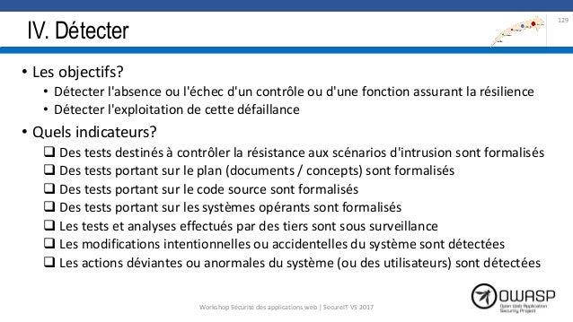 IV. Détecter • Les objectifs? • Détecter l'absence ou l'échec d'un contrôle ou d'une fonction assurant la résilience • Dét...