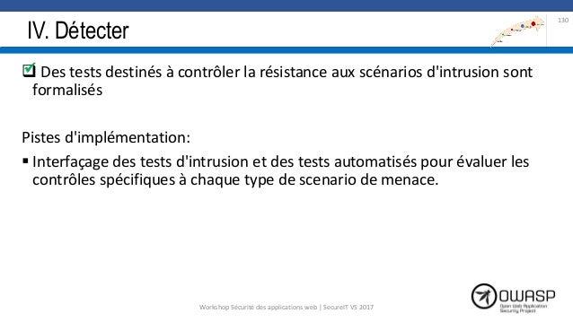 IV. Détecter  Des tests destinés à contrôler la résistance aux scénarios d'intrusion sont formalisés Pistes d'implémentat...