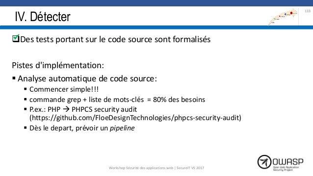 IV. Détecter Des tests portant sur le code source sont formalisés Pistes d'implémentation:  Analyse automatique de code ...