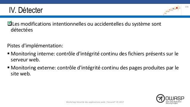 IV. Détecter Les modifications intentionnelles ou accidentelles du système sont détectées Pistes d'implémentation:  Moni...