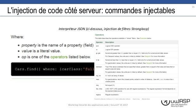 L'injection de code côté serveur: commandes injectables 15 Workshop Sécurité des applications web | SecureIT VS 2017 Inter...