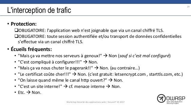 L'interception de trafic • Protection: OBLIGATOIRE: l'application web n'est joignable que via un canal chiffré TLS. OBLI...