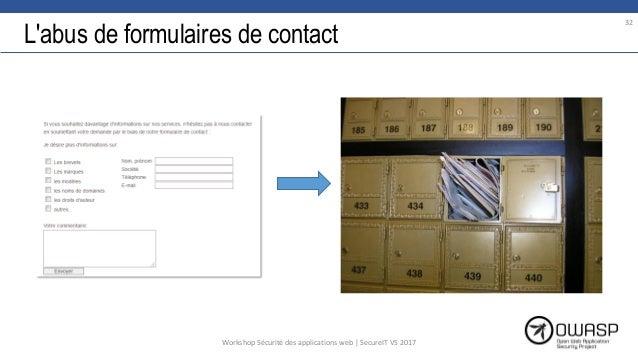 L'abus de formulaires de contact 32 Workshop Sécurité des applications web | SecureIT VS 2017