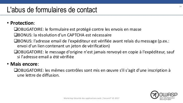 L'abus de formulaires de contact • Protection: OBLIGATOIRE: le formulaire est protégé contre les envois en masse BONUS: ...