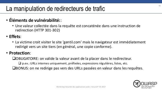 La manipulation de redirecteurs de trafic • Éléments de vulnérabilité:: • Une valeur collectée dans la requête est concaté...