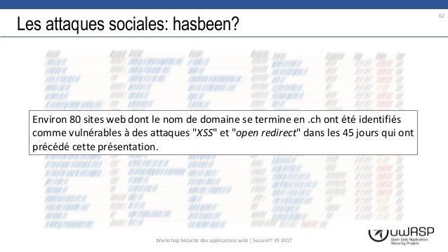 Les attaques sociales: hasbeen? 62 Workshop Sécurité des applications web | SecureIT VS 2017 Environ 80 sites web dont le ...