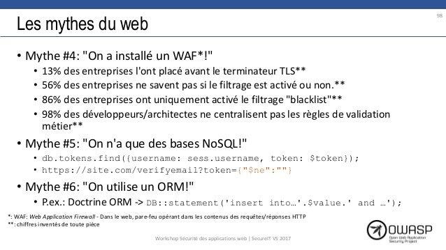 """Les mythes du web • Mythe #4: """"On a installé un WAF*!"""" • 13% des entreprises l'ont placé avant le terminateur TLS** • 56% ..."""