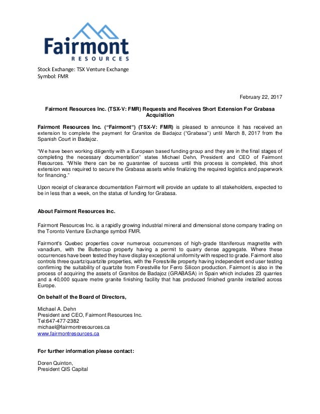Fairmont Resources Inc Tsx V Fmr Requests And Receives Short Exte