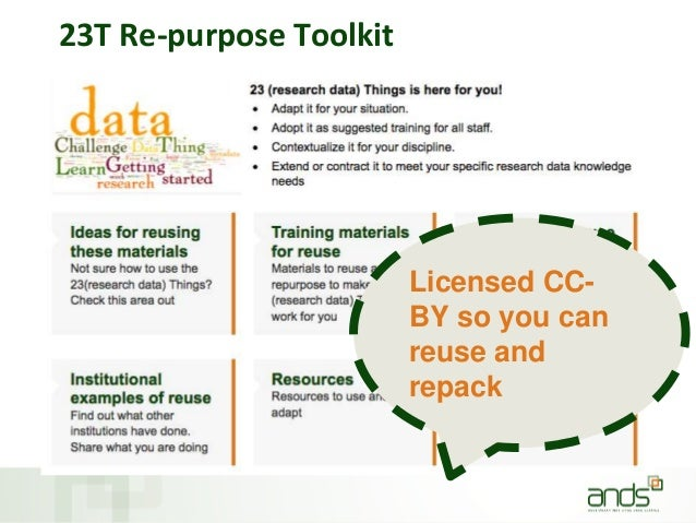 23T Re-purpose Toolkit Licensed CC- BY so you can reuse and repack