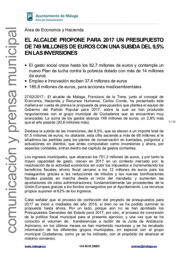 111a035a26a5 1 / 13 comunicaciónyprensamunicipal Área de Economía y Hacienda EL ALCALDE  PROPONE PARA 2017 UN PRESUPUESTO ...