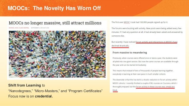 """MOOCs: The Novelty Has Worn Off Shift from Learning to """"Nanodegrees,"""" """"Micro-Masters,"""" and """"Program Certificates"""" Focus no..."""