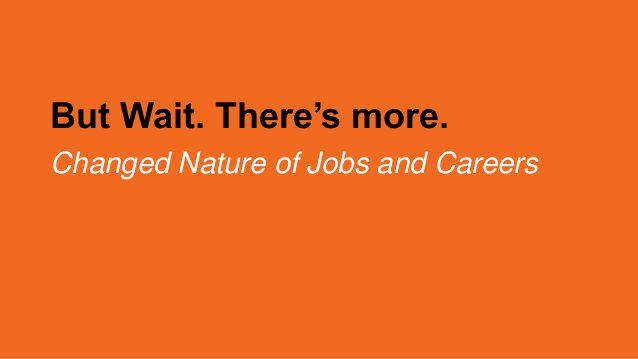 But Wait. There's more. Changed Nature of Jobs and Careers