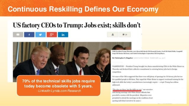 Continuous Reskilling Defines Our Economy 70% of the technical skills jobs require today become obsolete with 5 years. - L...
