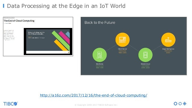 © Copyright 2000-2017 TIBCO Software Inc. Data Processing at the Edge in an IoT World http://a16z.com/2017/12/16/the-end-o...