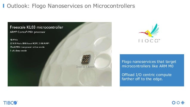 Outlook: Flogo Nanoservices on Microcontrollers Flogo nanoservices that target microcontrollers like ARM M0 Offload I/O ce...