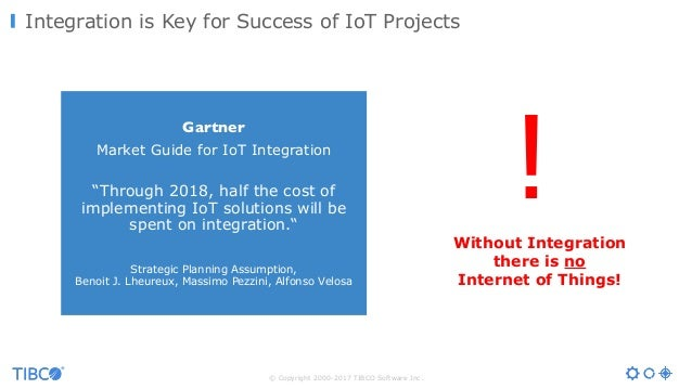© Copyright 2000-2017 TIBCO Software Inc. Integration is Key for Success of IoT Projects Without Integration there is no I...
