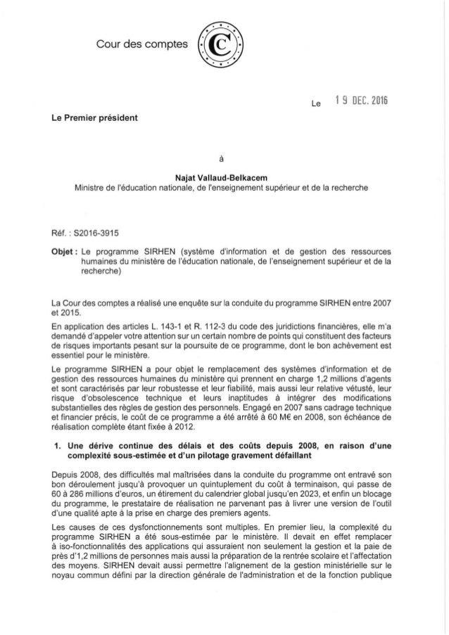 Cour des comptes Le 19 DEC. 2016 Le Premier président à Najat Vallaud-Belkacem Ministre de l'éducation nationale, de l'ens...