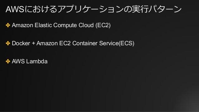 AWSにおけるアプリケーションの実⾏パターン ✤ Amazon Elastic Compute Cloud (EC2) ✤ Docker + Amazon EC2 Container Service(ECS) ✤ AWS Lambda