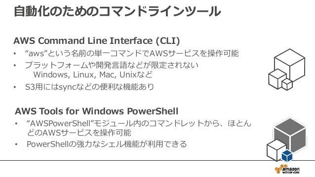 """自動化のためのコマンドラインツール AWS Command Line Interface (CLI) • """"aws""""という名前の単一コマンドでAWSサービスを操作可能 • プラットフォームや開発言語などが限定されない Windows, Linu..."""