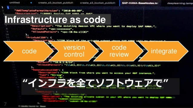 """Infrastructure as code 7 code version control code review integrate """"インフラを全てソフトウェアで"""""""