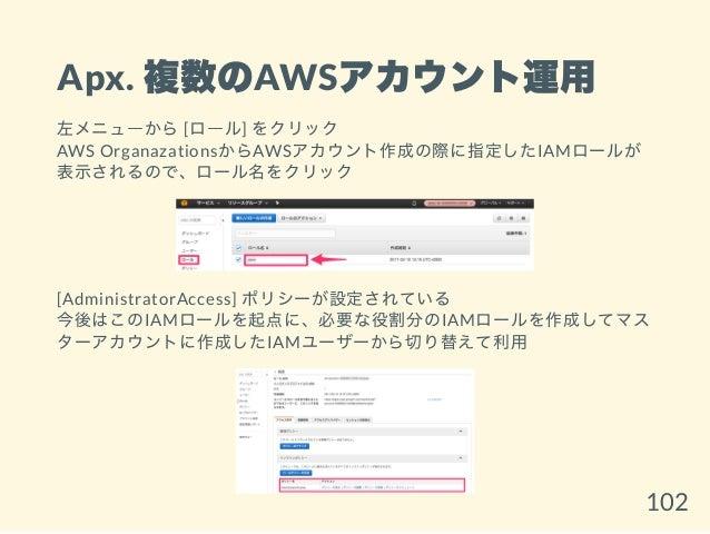 Apx. 複数のAWSアカウント運用 左メニューから[ロール] をクリック AWS OrganazationsからAWSアカウント作成の際に指定したIAMロールが 表示されるので、ロール名をクリック [AdministratorAccess] ...