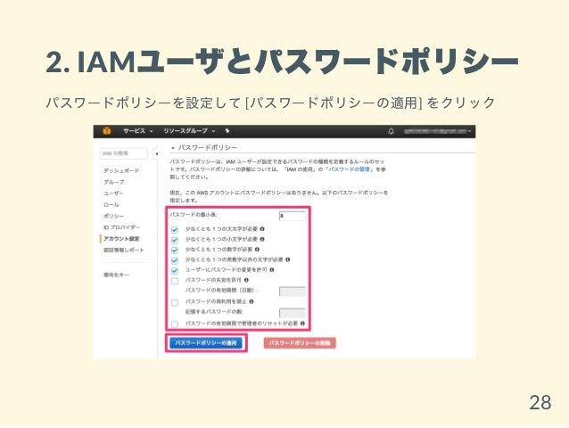 2. IAMユーザとパスワードポリシー パスワードポリシーを設定して[パスワードポリシーの適用] をクリック 28